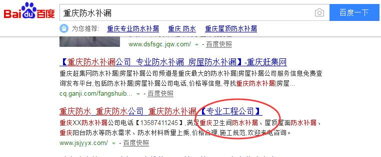 8天排名百度首页前3:重庆防水补漏网站优化案例