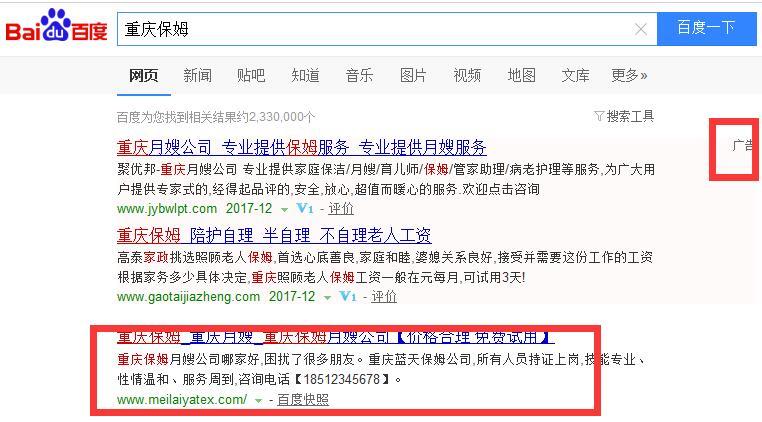 重庆保姆网站排名案例