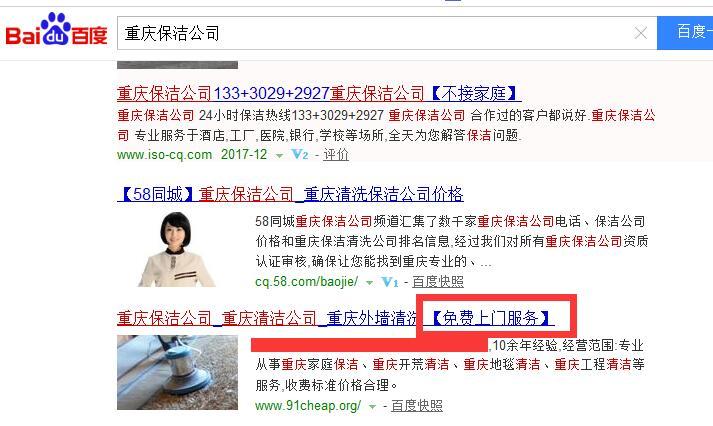 重庆保洁公司网站排名案例